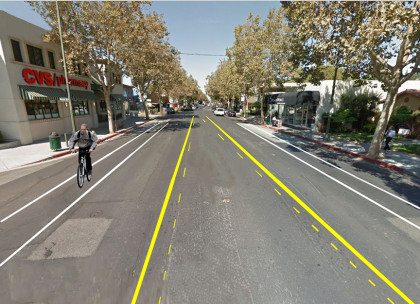 Rendering of  the temporary bike lanes on Lincoln Ave.