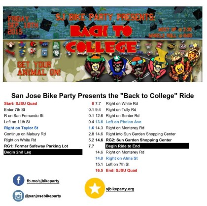 The Back To College Ride – September 18th, 2015